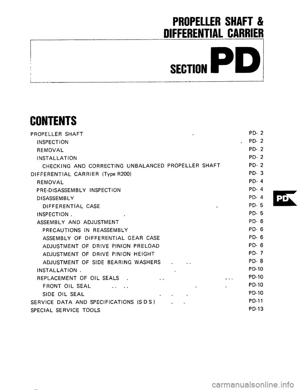 NISSAN 300ZX 1984 Z31 Propeller Shaft And Differential Carrier Workshop Manual, Page 1