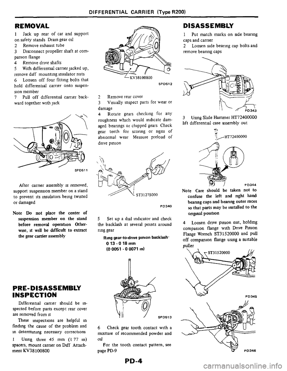 NISSAN 300ZX 1984 Z31 Propeller Shaft And Differential Carrier Workshop Manual, Page 4