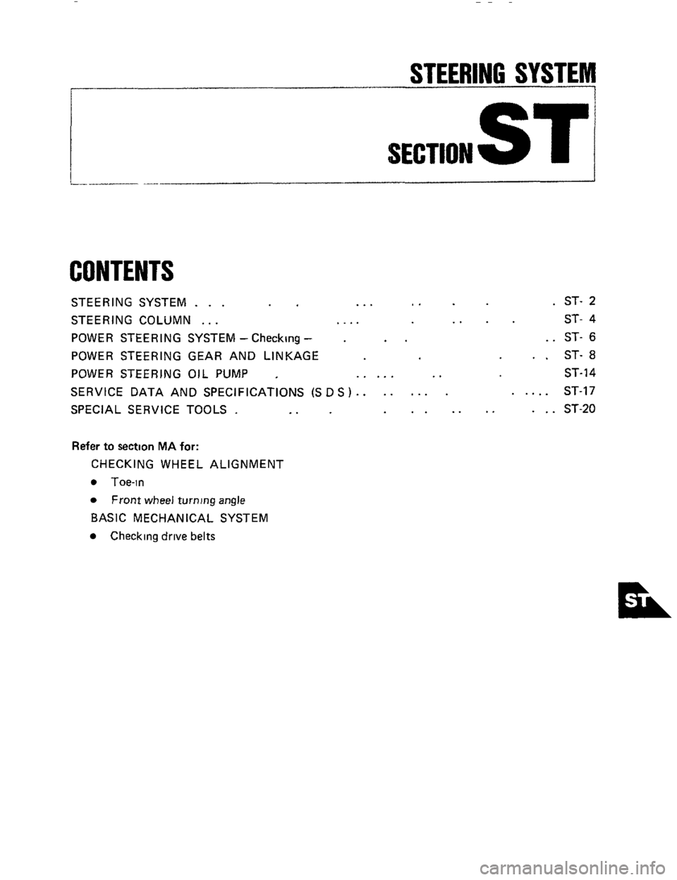 NISSAN 300ZX 1984 Z31 Steering System Workshop Manual, Page 1