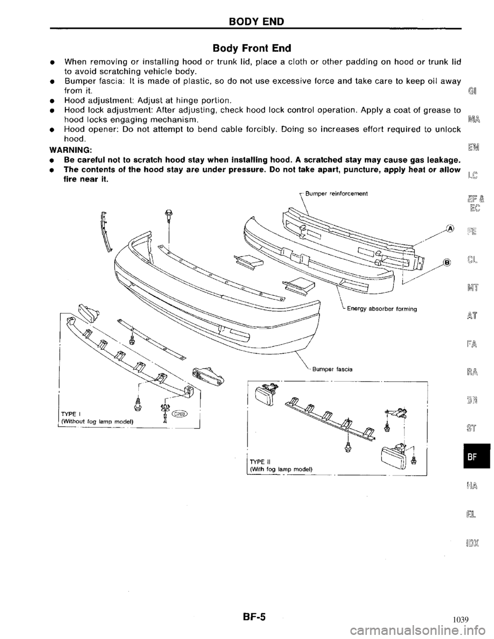 NISSAN MAXIMA 1994 A32 / 4.G Body Workshop Manual, Page 5
