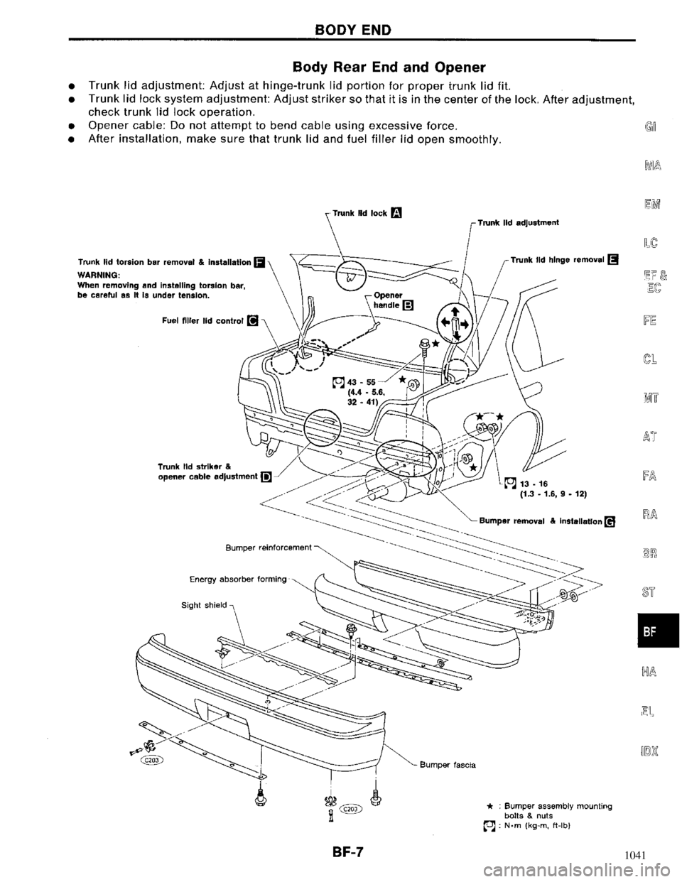NISSAN MAXIMA 1994 A32 / 4.G Body Workshop Manual, Page 7