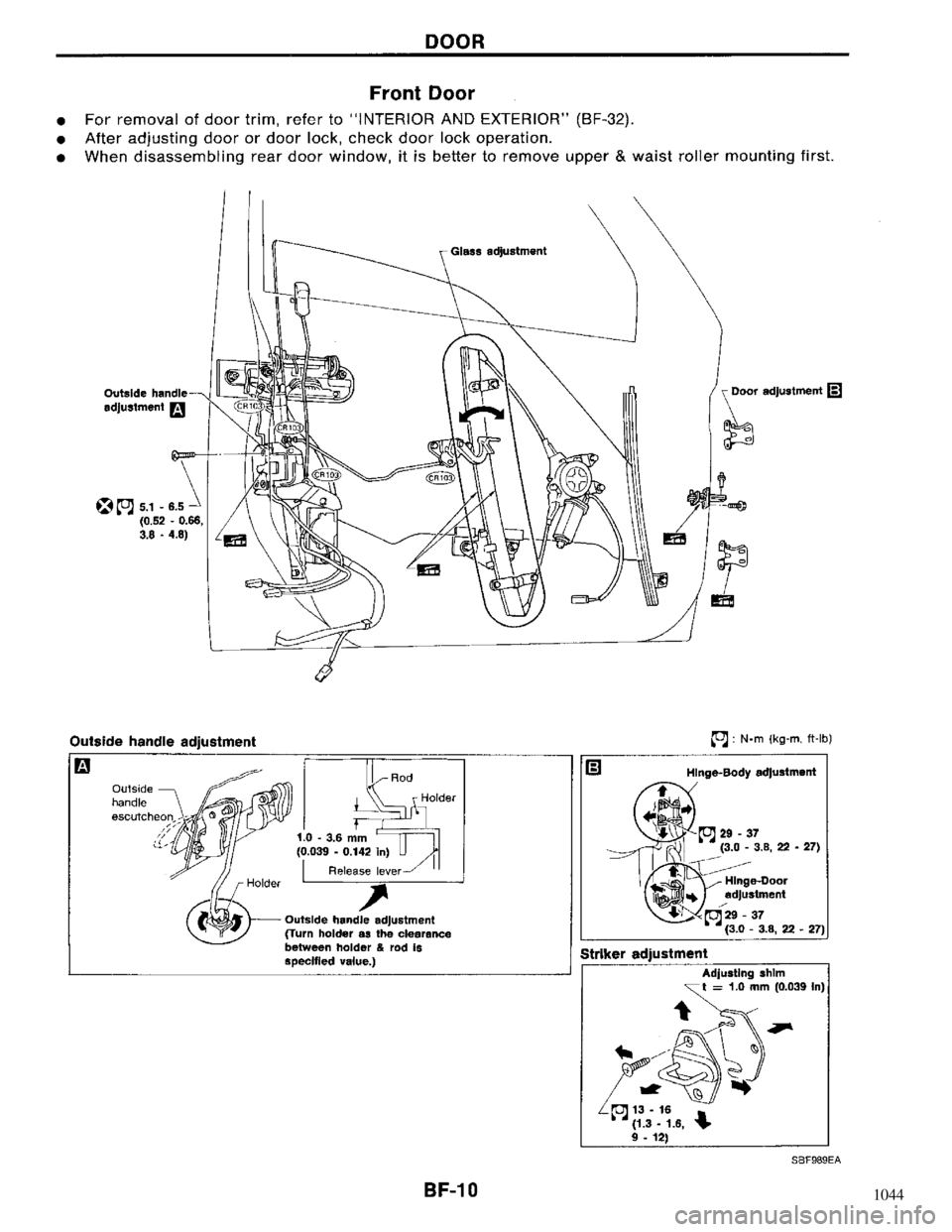 NISSAN MAXIMA 1994 A32 / 4.G Body Workshop Manual, Page 10