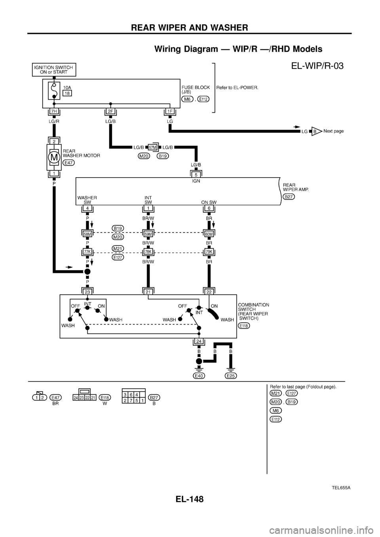 Nissan Patrol 1998 Y61 5g Electrical System Workshop Manual Rear Wiper Switch Wiring Diagram G