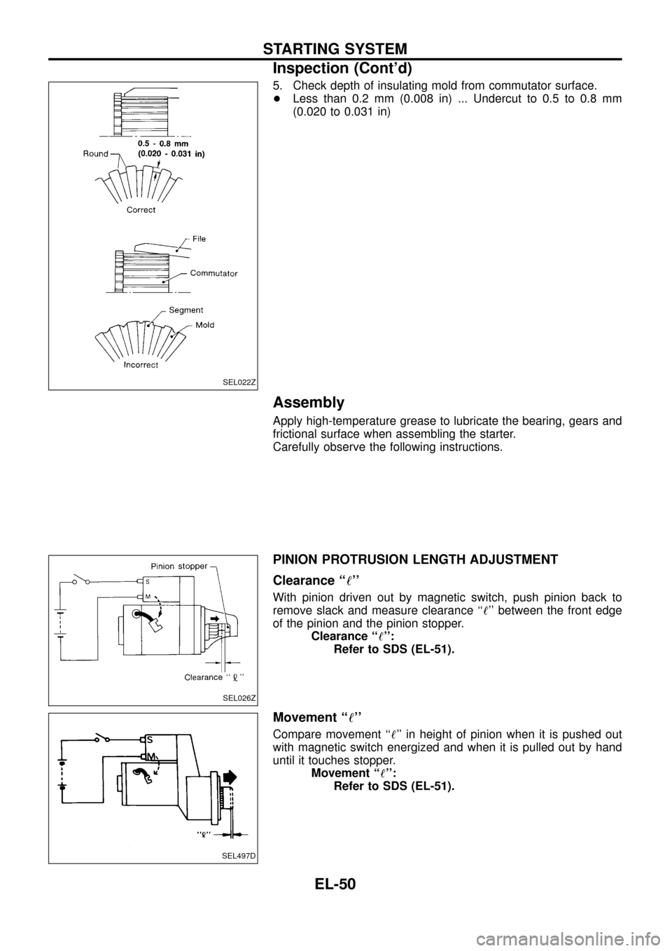 NISSAN PATROL 1998 Y61 / 5.G Electrical System Workshop Manual 5. Check depth of insulating mold from commutator surface. +Less than 0.2 mm (0.008 in) ... Undercut to 0.5 to 0.8 mm (0.020 to 0.031 in) Assembly Apply high-temperature grease to lubricate the bearin
