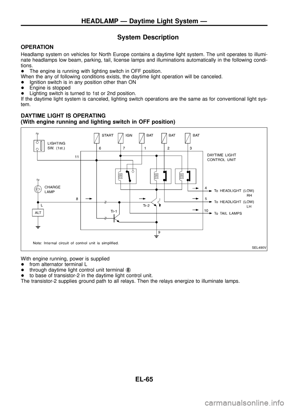 NISSAN PATROL 1998 Y61 / 5.G Electrical System Workshop Manual System Description OPERATION Headlamp system on vehicles for North Europe contains a daytime light system. The unit operates to illumi- nate headlamps low beam, parking, tail, license lamps and illumi