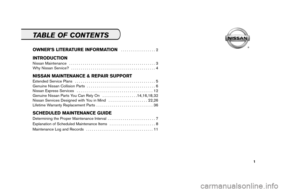 NISSAN 350Z 2006 Z33 Service And Maintenance Guide, Page 3