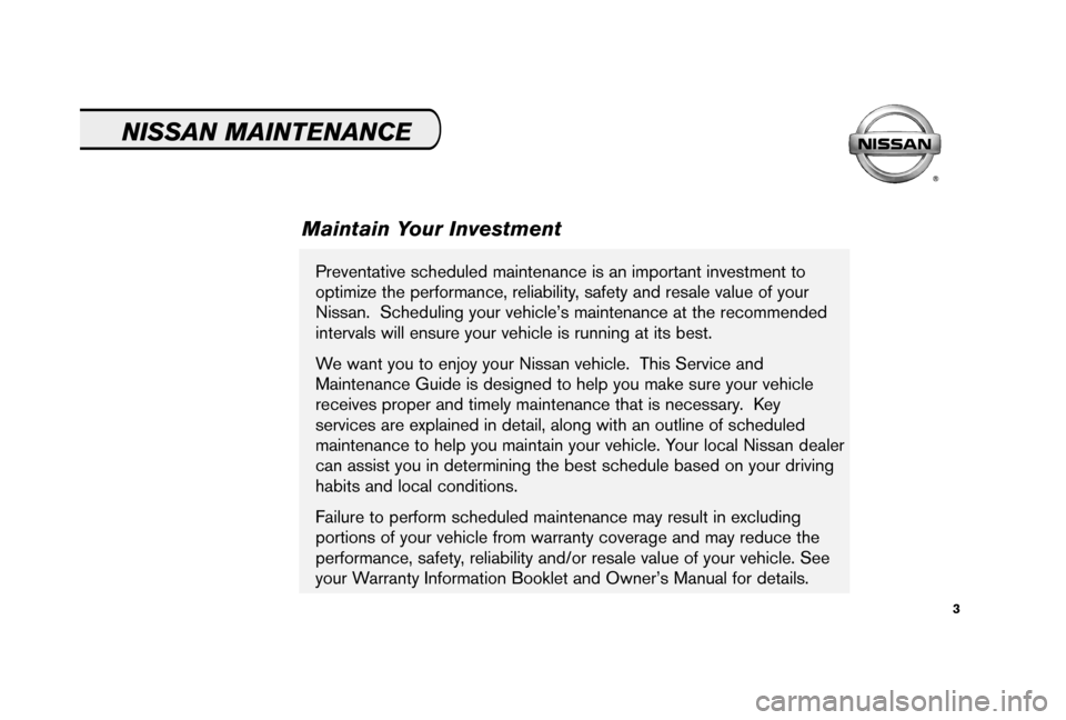 NISSAN 350Z 2006 Z33 Service And Maintenance Guide, Page 5