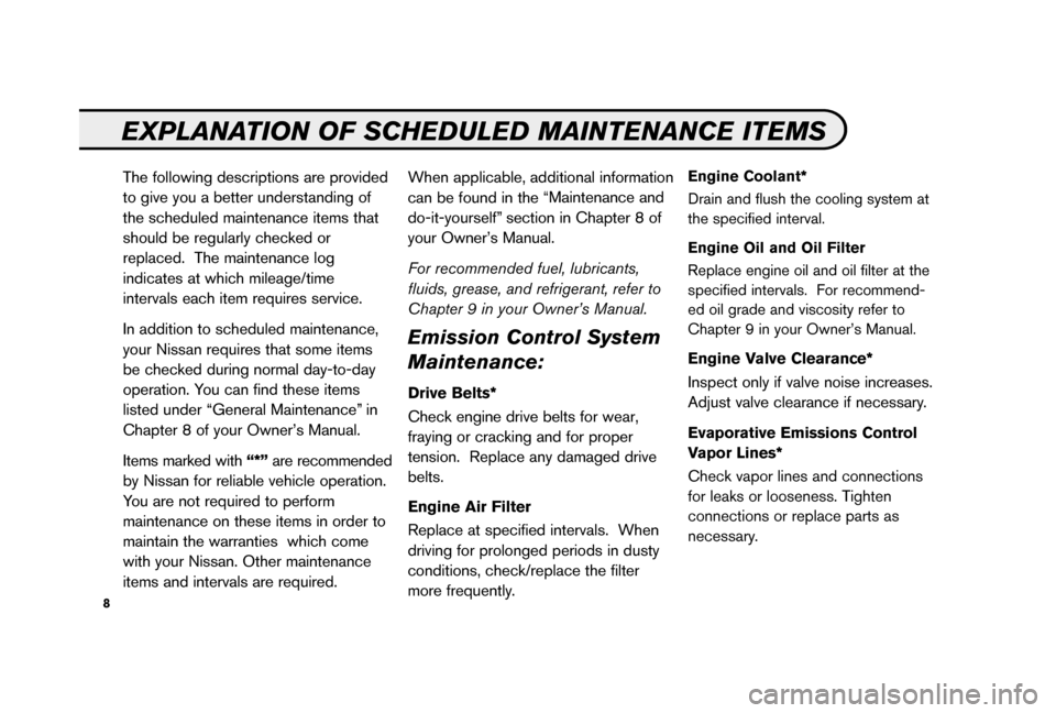 NISSAN 350Z 2006 Z33 Service And Maintenance Guide, Page 10