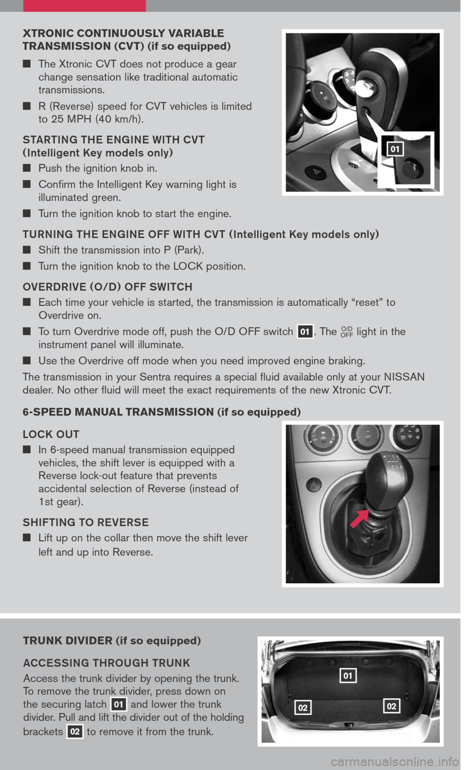 NISSAN SENTRA 2007 B16 / 6.G Quick Reference Guide