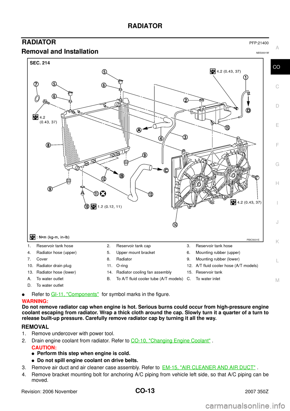Nissan 350z 2007 Z33 Engine Cooling System Workshop Manual Coolant Diagram