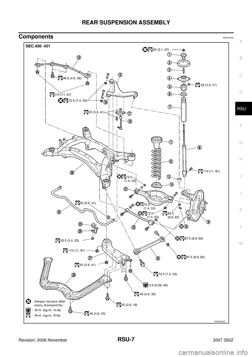 NISSAN 350Z 2007 Z33 Rear Suspension Workshop Manual, Page 7
