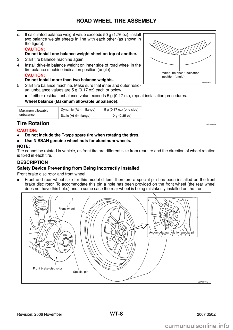 NISSAN 350Z 2007 Z33 Road Wheels And Tires Workshop Manual, Page 8
