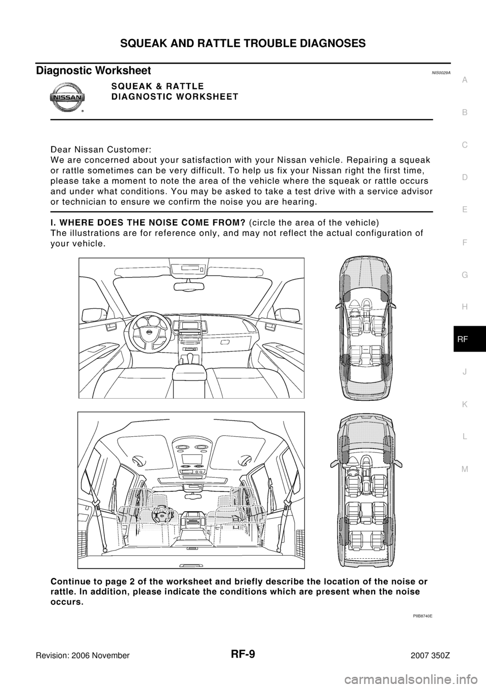 NISSAN 350Z 2007 Z33 Roof Workshop Manual, Page 9