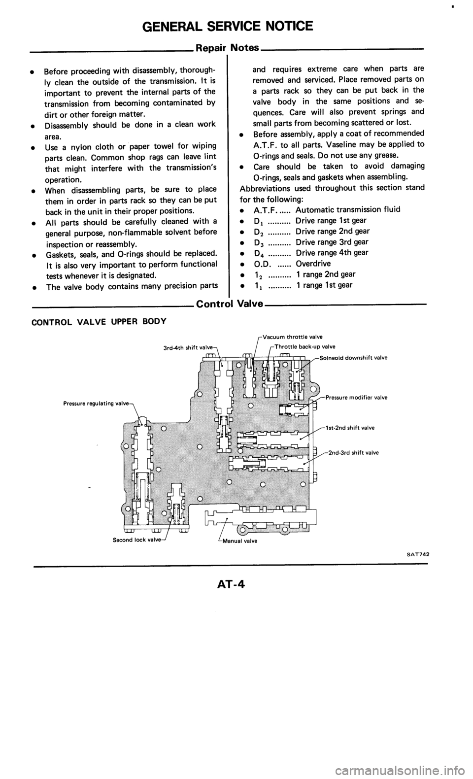 NISSAN 300ZX 1985 Z31 Automatic Transmission Workshop Manual, Page 4
