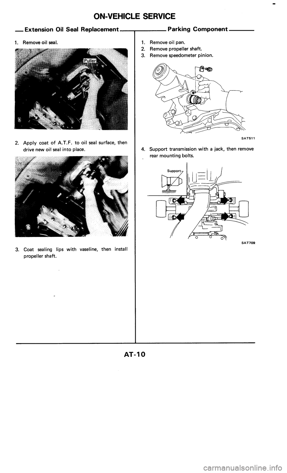 NISSAN 300ZX 1985 Z31 Automatic Transmission Workshop Manual, Page 10