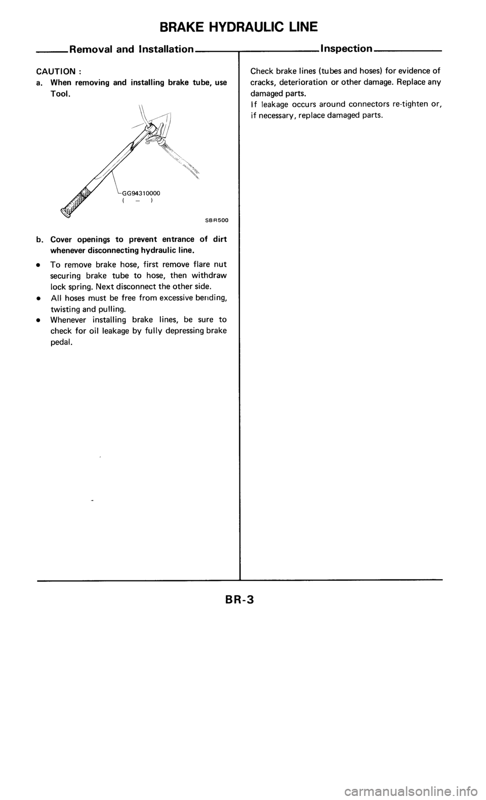 NISSAN 300ZX 1985 Z31 Brake System Workshop Manual