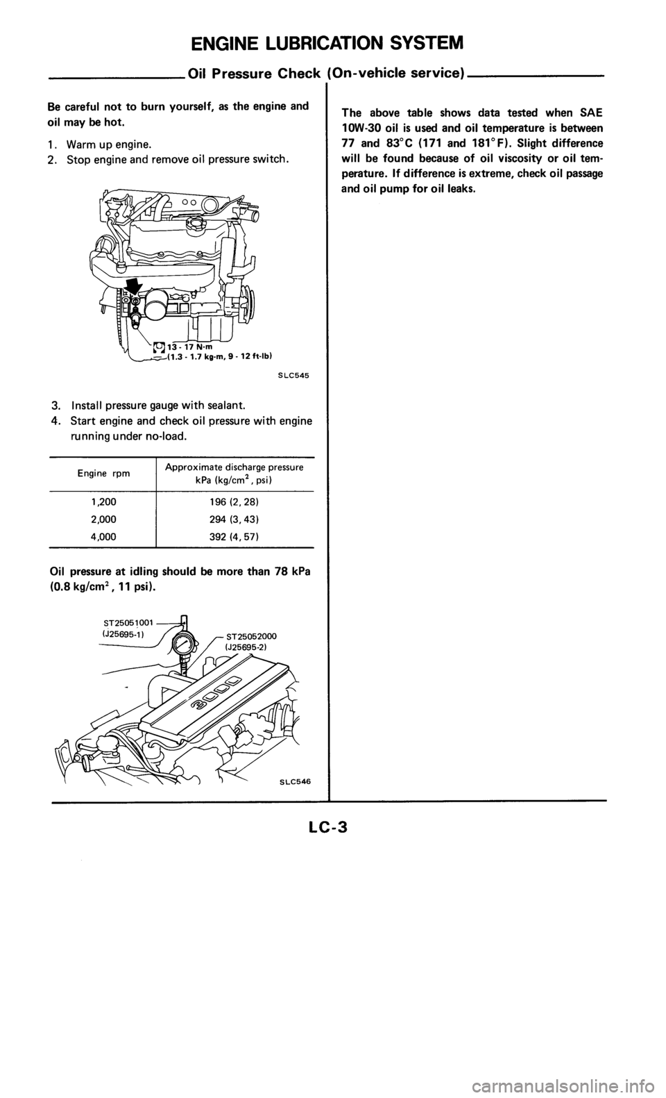 NISSAN 300ZX 1985 Z31 Engine Lubrication And Cooling System Workshop Manual, Page 3