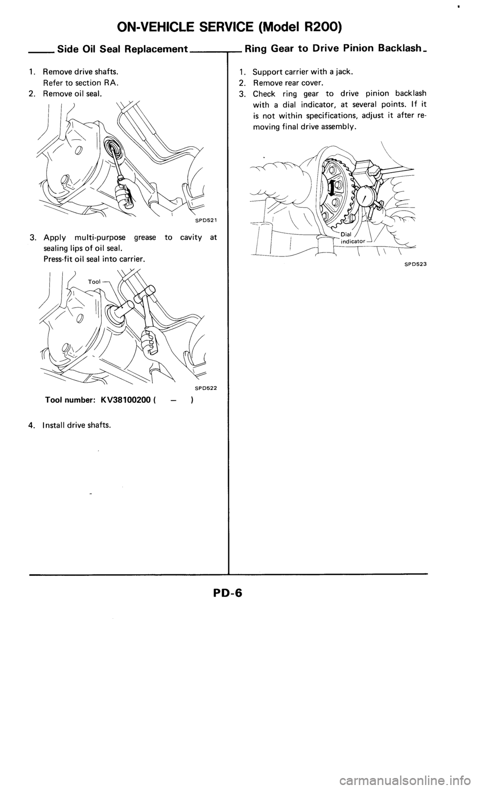 NISSAN 300ZX 1986 Z31 Propeller Shaft And Differential Carrier Workshop Manual, Page 6