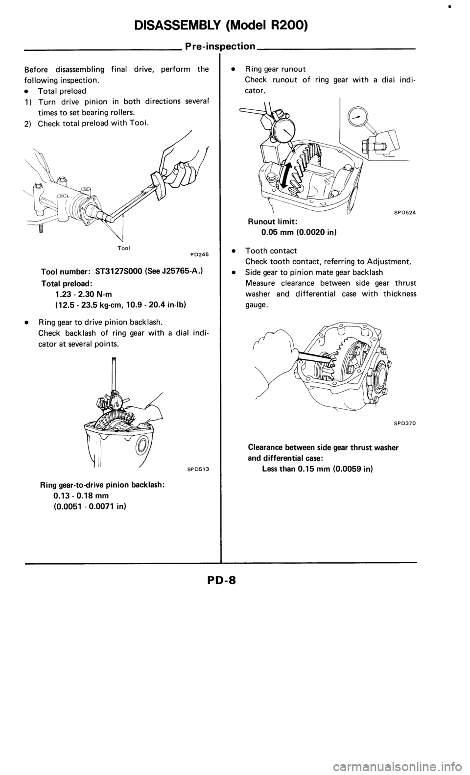NISSAN 300ZX 1986 Z31 Propeller Shaft And Differential Carrier Workshop Manual, Page 8