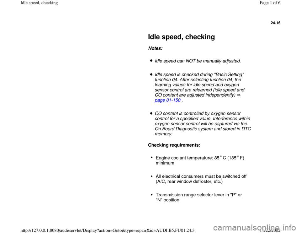 AUDI A4 1995 B5 / 1.G AFC Engine Idle Speed Checking Workshop Manual, Page 1
