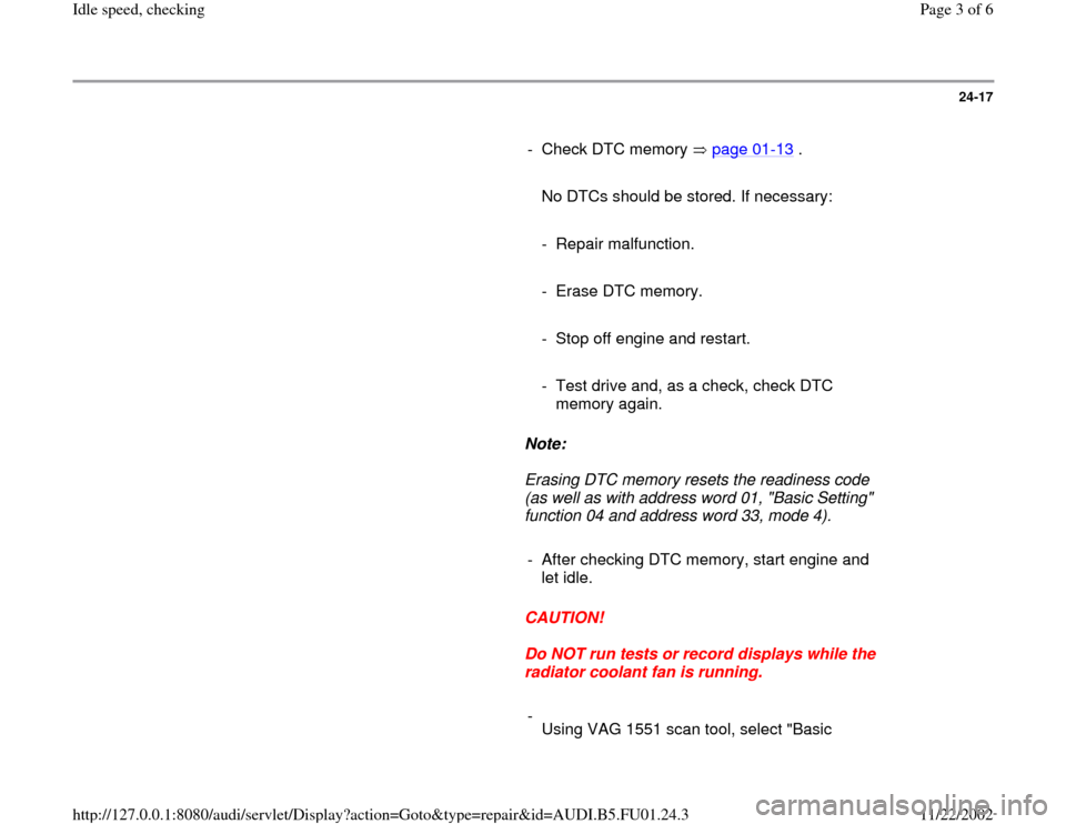 AUDI A4 1995 B5 / 1.G AFC Engine Idle Speed Checking Workshop Manual, Page 3