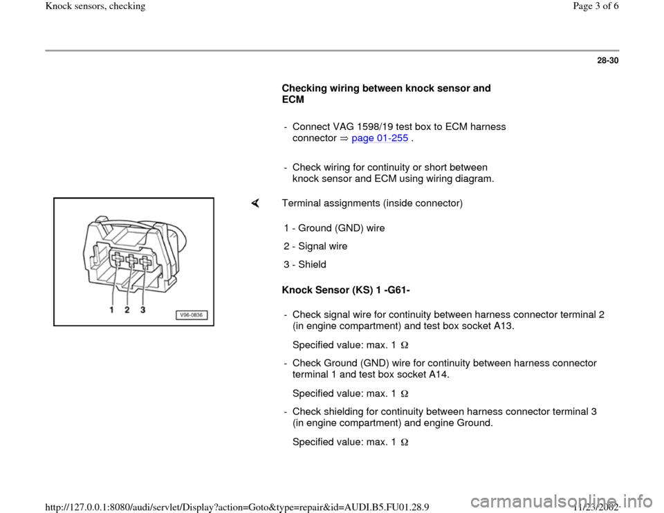 AUDI A4 2000 B5 1G AFC Engine Knock Sensors Checking Workshop – Knock Sensor Wire Diagram