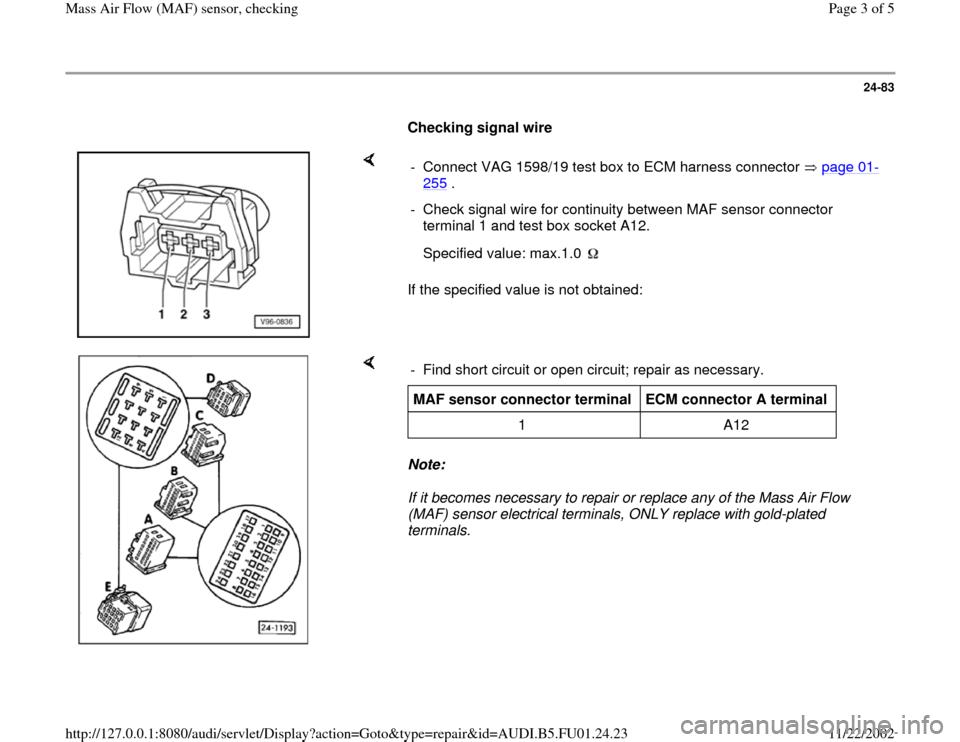 Audi A4 1996 B5    1 G Afc Engine Mass Air Flow Sensors Checking Workshop Manual