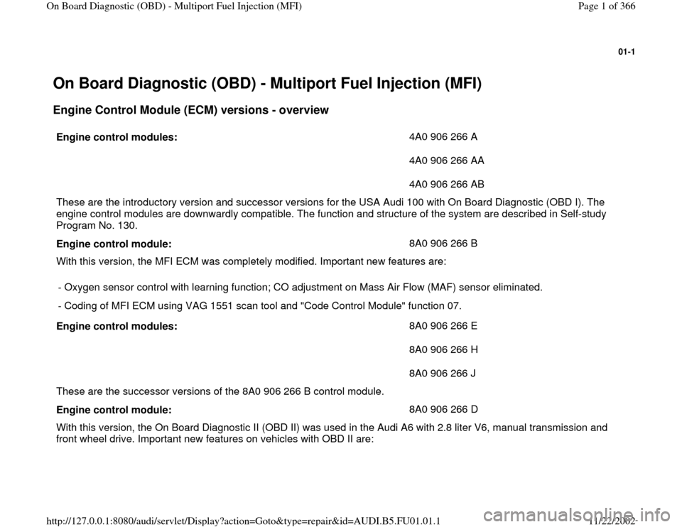 AUDI A4 1996 B5 / 1.G AFC Engine On Board Diagnostic Multiport Fuel Injection Workshop Manual, Page 1