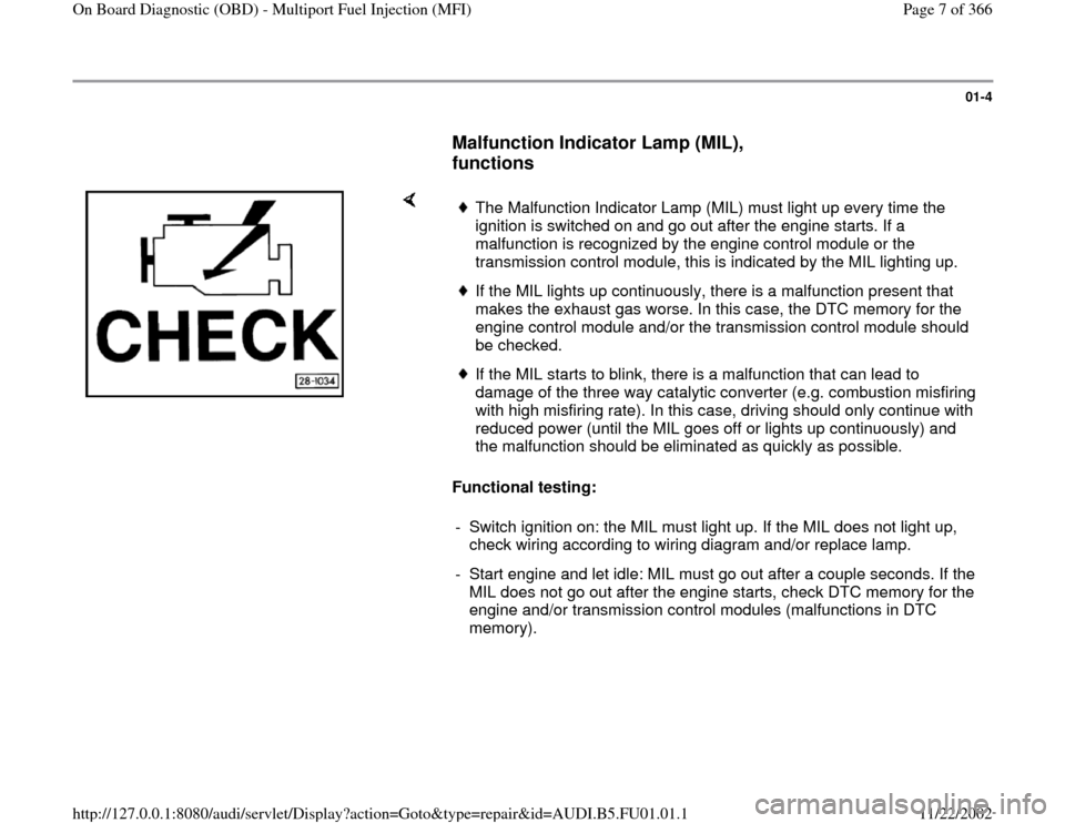 AUDI A4 1996 B5 / 1.G AFC Engine On Board Diagnostic Multiport Fuel Injection Workshop Manual, Page 7