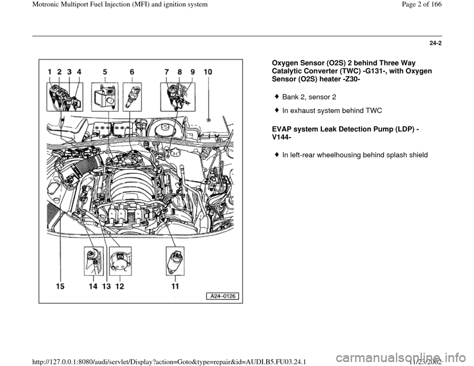 AUDI A6 1996 C5 / 2.G AHA Engine Multiport Fuel Injection And Ignition System Workshop Manual 24-2      Oxygen Sensor (O2S) 2 behind Three Way  Catalytic Converter (TWC) -G131-, with Oxygen  Sensor (O2S) heater -Z30-  EVAP system Leak Detection Pump (LDP) - V144-    Bank 2, sensor 2  In exhaus