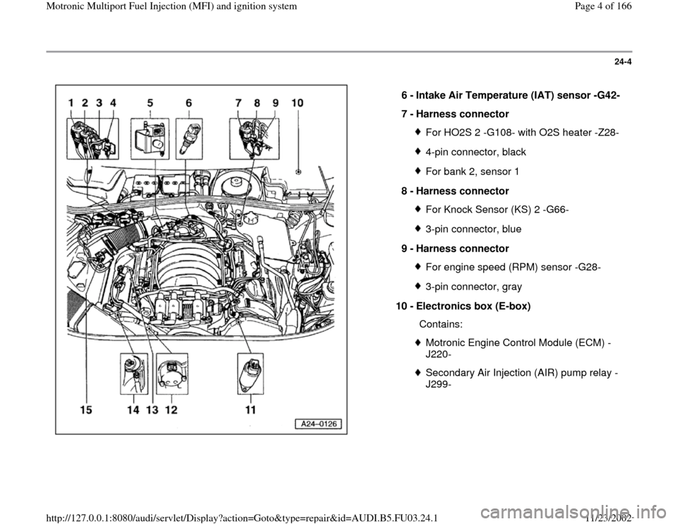 AUDI A6 1996 C5 / 2.G AHA Engine Multiport Fuel Injection And Ignition System Workshop Manual 24-4      6 -  Intake Air Temperature (IAT) sensor -G42-  7 -  Harness connector  For HO2S 2 -G108- with O2S heater -Z28-4-pin connector, blackFor bank 2, sensor 1 8 -  Harness connector For Knock Sen