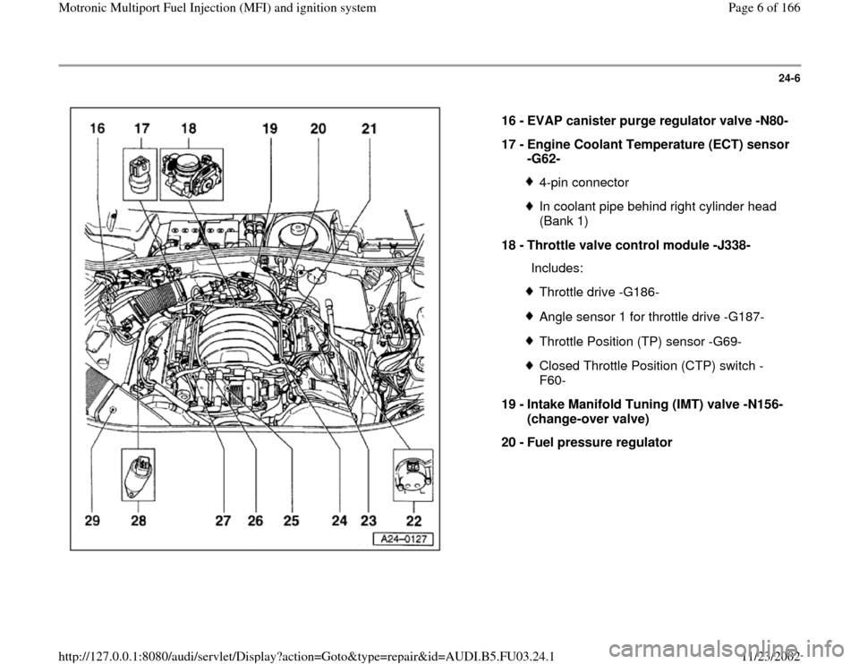 AUDI A6 1996 C5 / 2.G AHA Engine Multiport Fuel Injection And Ignition System Workshop Manual 24-6      16 -  EVAP canister purge regulator valve -N80- 17 -  Engine Coolant Temperature (ECT) sensor  -G62-  4-pin connectorIn coolant pipe behind right cylinder head  (Bank 1)  18 -  Throttle valv