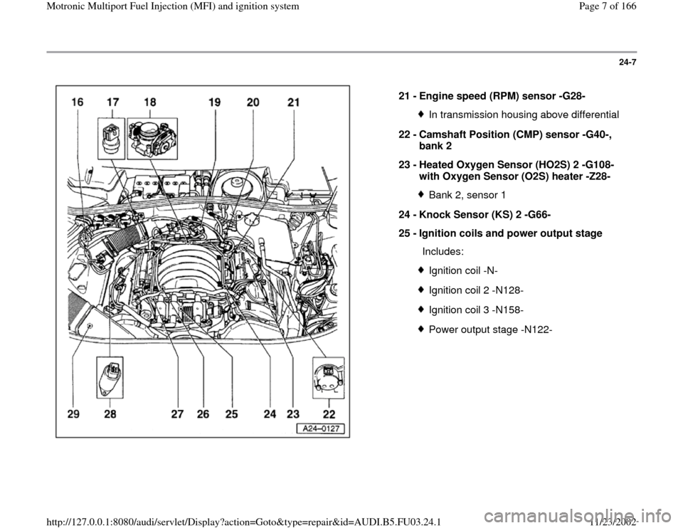 AUDI A6 1996 C5 / 2.G AHA Engine Multiport Fuel Injection And Ignition System Workshop Manual 24-7      21 -  Engine speed (RPM) sensor -G28-  In transmission housing above differential 22 -  Camshaft Position (CMP) sensor -G40-,  bank 2  23 -  Heated Oxygen Sensor (HO2S) 2 -G108-  with Oxygen