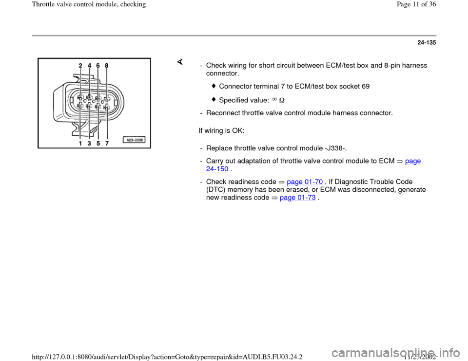 AUDI A4 1998 B5 / 1.G AHA Engine Throttle Valve Control Module Checking Workshop Manual, Page 11