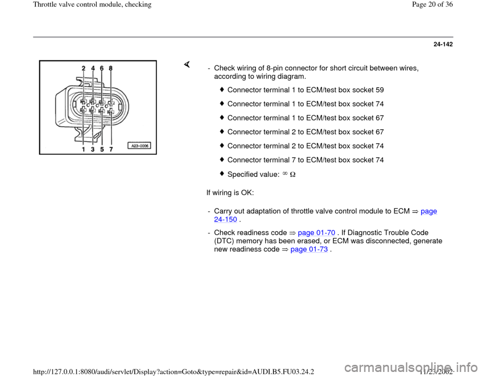 AUDI A4 1998 B5 / 1.G AHA Engine Throttle Valve Control Module Checking Workshop Manual, Page 20