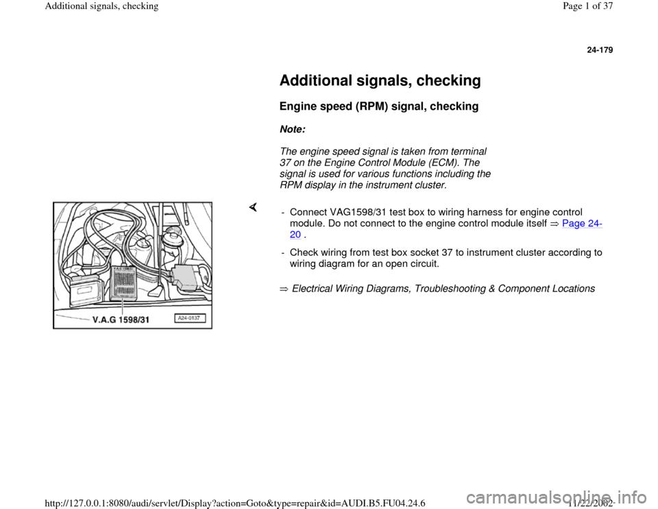 Audi A4 1996 B5    1 G Apb Engine Additional Signals Checking Workshop Manual