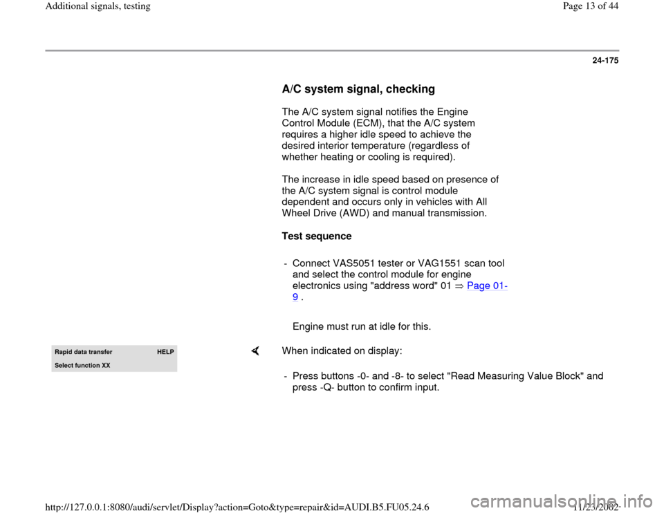 AUDI A6 1996 C5 / 2.G ATQ Engine Additional Signals Testing Workshop Manual, Page 13