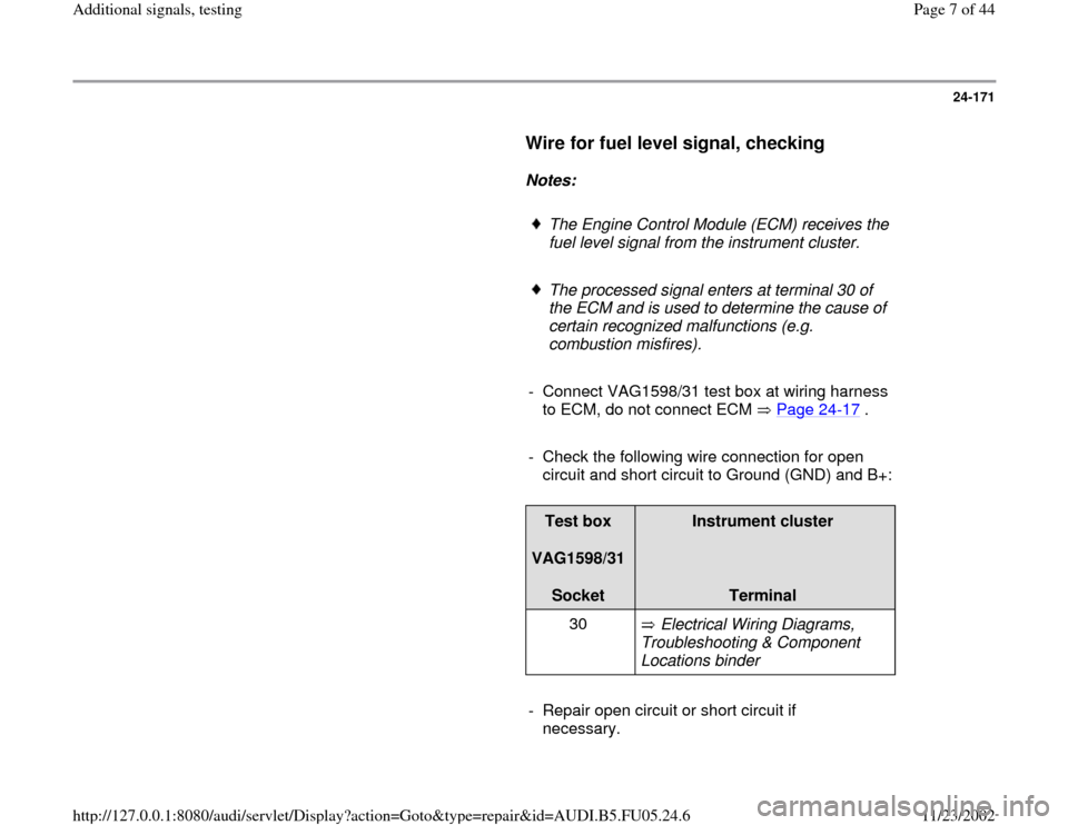 AUDI A6 1996 C5 / 2.G ATQ Engine Additional Signals Testing Workshop Manual, Page 7