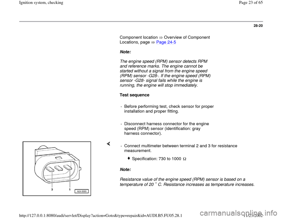 AUDI A6 1996 C5 / 2.G ATQ Engine Ignition System Checking Workshop Manual, Page 23