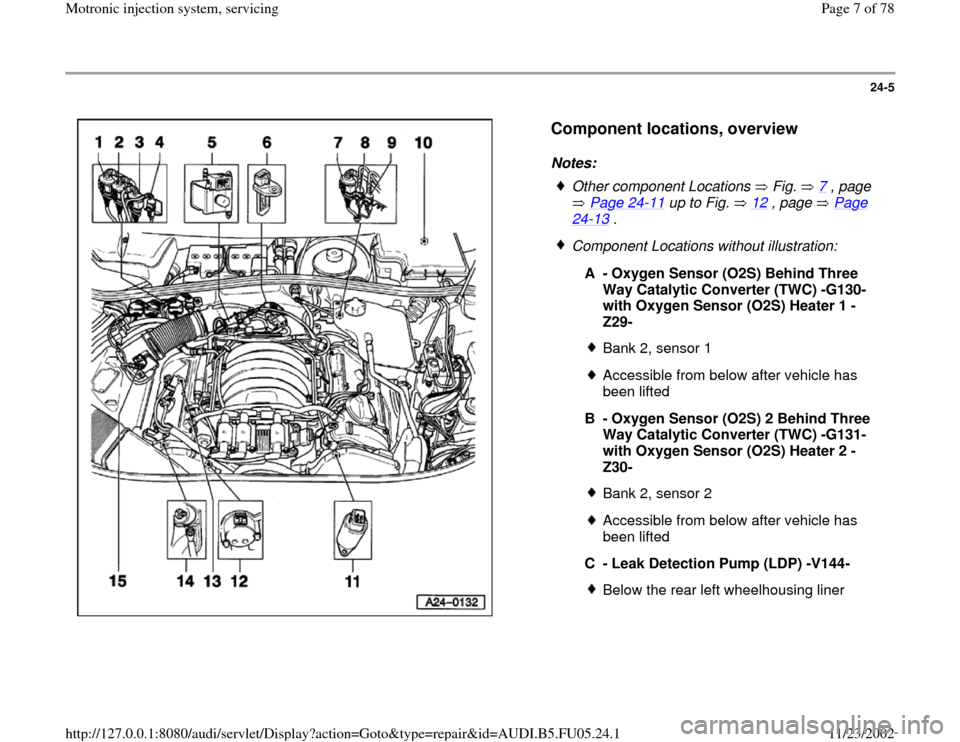 AUDI A4 2000 B5 / 1.G ATQ Engine Motronic Injection System Servicing Workshop Manual 24-5      Component locations, overview   Notes:    Other component Locations   Fig.   7  , page   Page 24 -11  up to Fig.   12  , page   Page  24 -13  .   Component Locations without illustration: A