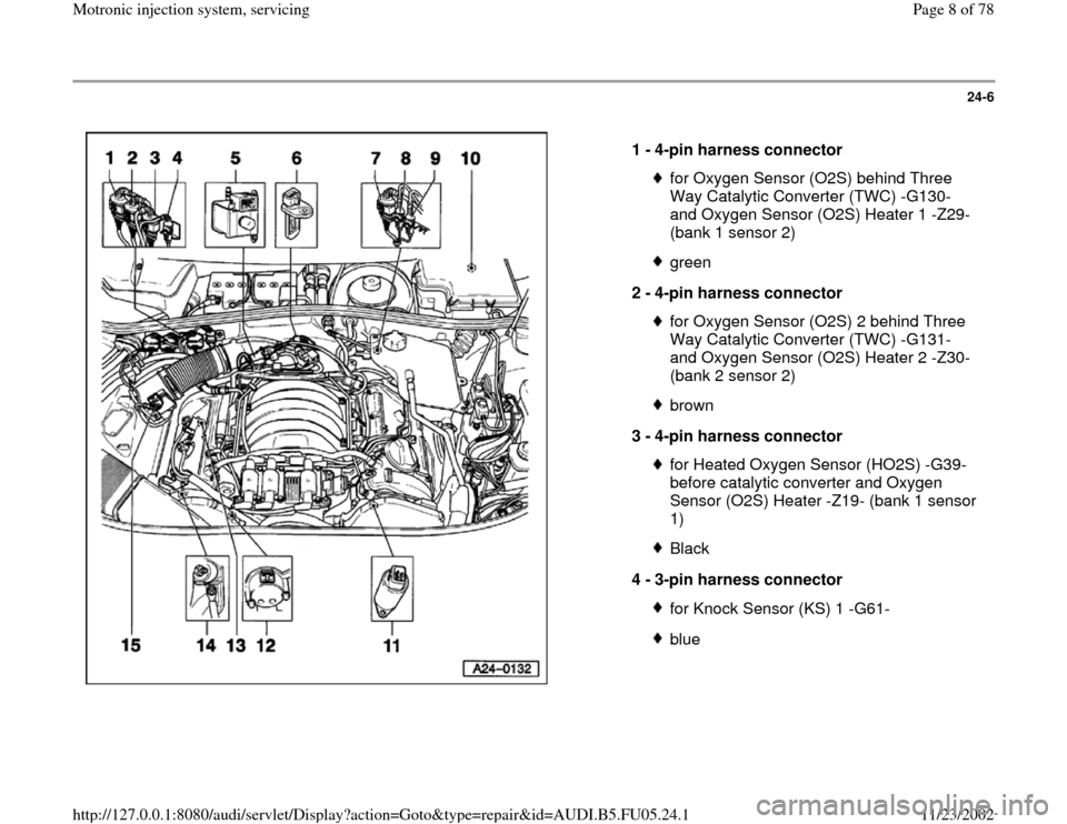 AUDI A4 2000 B5 / 1.G ATQ Engine Motronic Injection System Servicing Workshop Manual 24-6      1 -  4-pin harness connector  for Oxygen Sensor (O2S) behind Three  Way Catalytic Converter (TWC) -G130-  and Oxygen Sensor (O2S) Heater 1 -Z29-  (bank 1 sensor 2) green 2 -  4-pin harness c