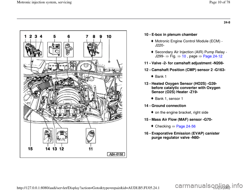 AUDI A4 2000 B5 / 1.G ATQ Engine Motronic Injection System Servicing Workshop Manual 24-8      10 -  E-box in plenum chamber  Motronic Engine Control Module (ECM) - J220- Secondary Air Injection (AIR) Pump Relay - J299-  Fig.  10  , page   Page 24 -12   11 -  Valve -2- for camshaft ad