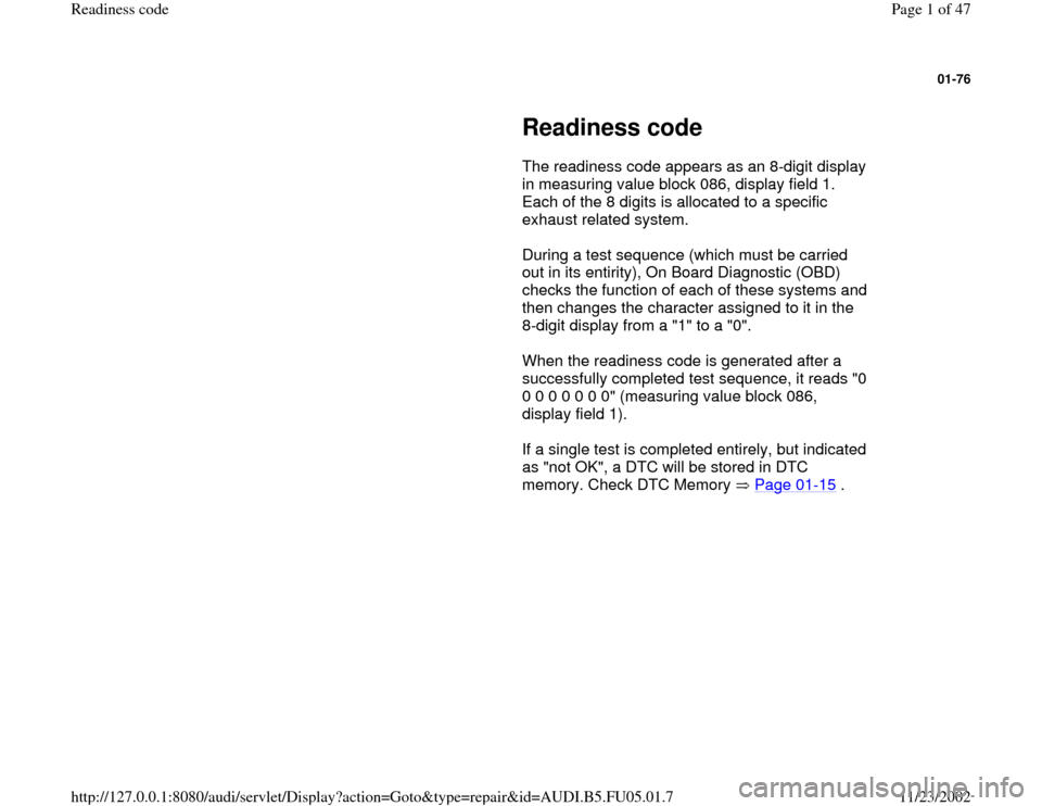 AUDI A8 1998 D2 / 1.G ATQ Engine Readiness Code Workshop Manual, Page 1