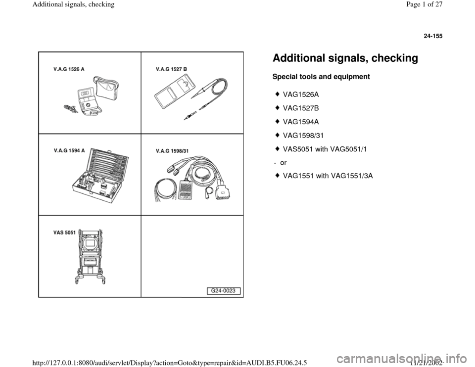 AUDI A3 2000 8L / 1.G ATW Engine Additional Signals Workshop Manual, Page 1