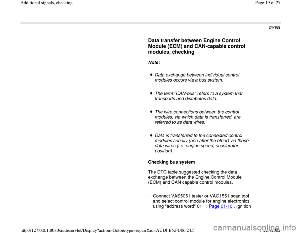 AUDI A3 2000 8L / 1.G ATW Engine Additional Signals Workshop Manual, Page 19