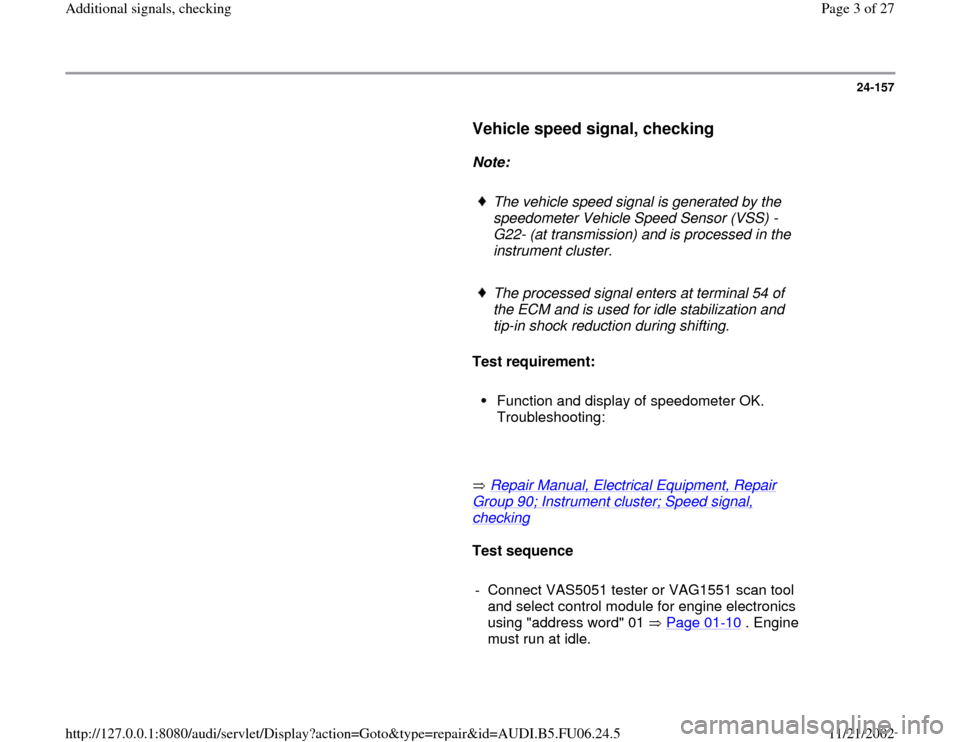 AUDI A3 2000 8L / 1.G ATW Engine Additional Signals Workshop Manual, Page 3