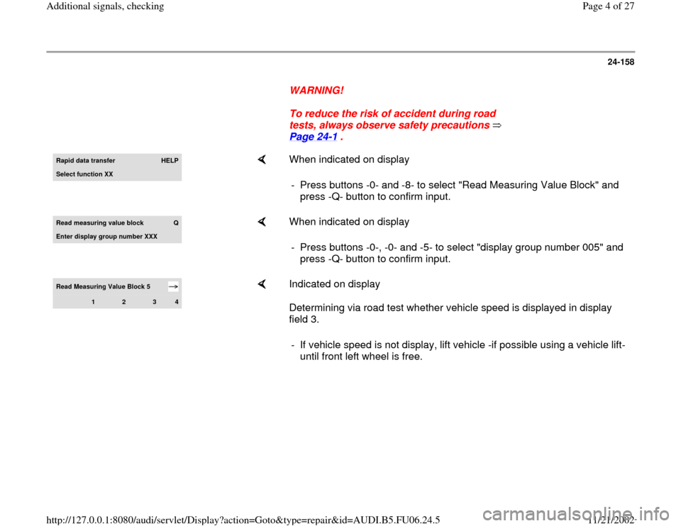 AUDI A3 2000 8L / 1.G ATW Engine Additional Signals Workshop Manual, Page 4