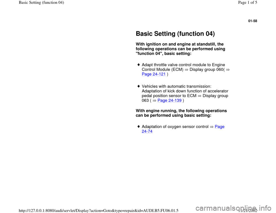 AUDI A6 1996 C5 / 2.G ATW Engine Basic Setting Workshop Manual, Page 1