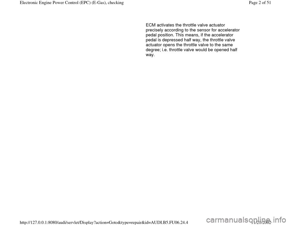 AUDI A4 2000 B5 / 1.G ATW Engine Electronic Power Control Checking Workshop Manual, Page 2