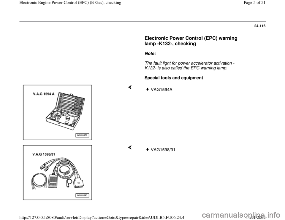 AUDI A4 2000 B5 / 1.G ATW Engine Electronic Power Control Checking Workshop Manual, Page 5